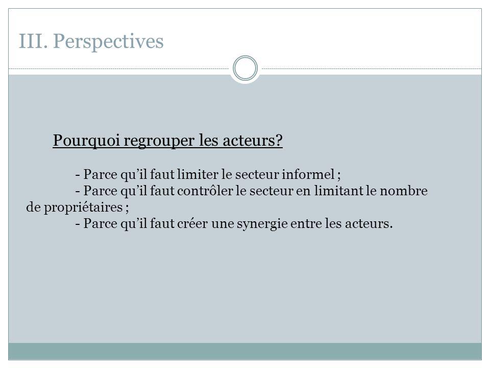 III.Perspectives Pourquoi regrouper les acteurs.