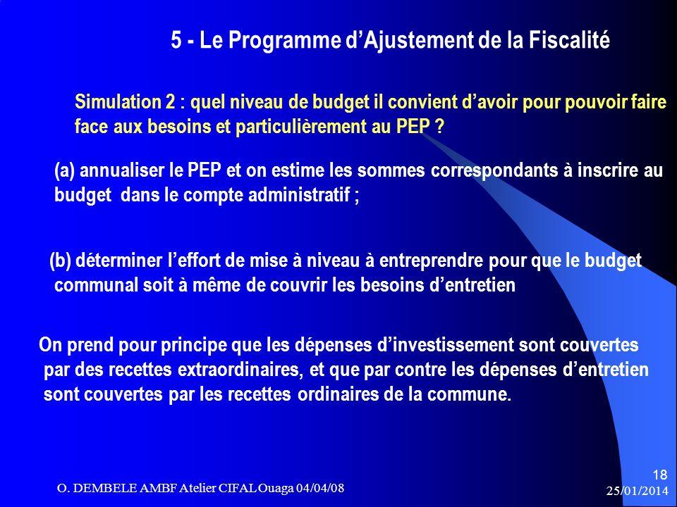 5 - Le Programme dAjustement de la Fiscalité Simulation 2 : quel niveau de budget il convient davoir pour pouvoir faire face aux besoins et particuliè