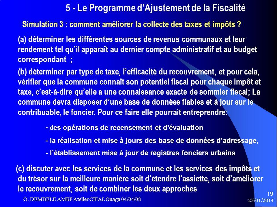 5 - Le Programme dAjustement de la Fiscalité Simulation 3 : comment améliorer la collecte des taxes et impôts ? (a) déterminer les différentes sources
