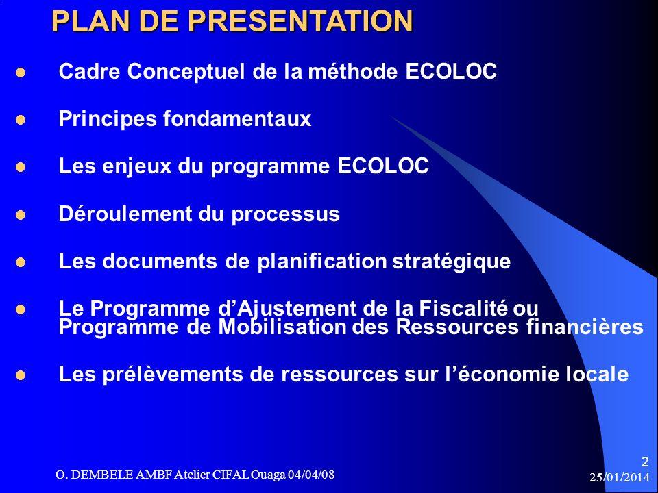 O. DEMBELE AMBF Atelier CIFAL Ouaga 04/04/08 25/01/2014 PLAN DE PRESENTATION Cadre Conceptuel de la méthode ECOLOC Principes fondamentaux Les enjeux d