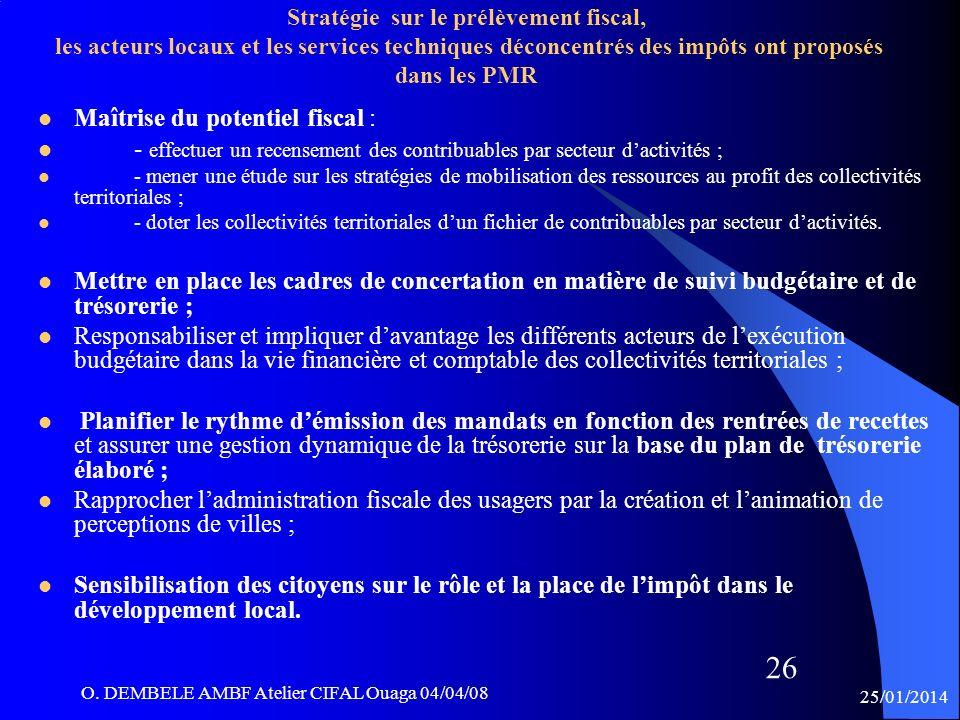 25/01/2014 O. DEMBELE AMBF Atelier CIFAL Ouaga 04/04/08 26 Maîtrise du potentiel fiscal : - effectuer un recensement des contribuables par secteur dac