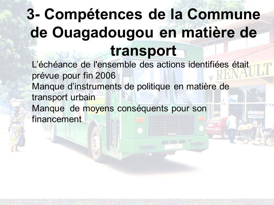 3- Compétences de la Commune de Ouagadougou en matière de transport Léchéance de l'ensemble des actions identifiées était prévue pour fin 2006 Manque