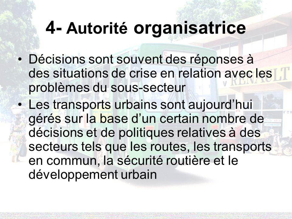 4- Autorité organisatrice Décisions sont souvent des réponses à des situations de crise en relation avec les problèmes du sous-secteur Les transports