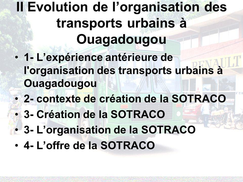 II Evolution de lorganisation des transports urbains à Ouagadougou 1- Lexpérience antérieure de l'organisation des transports urbains à Ouagadougou 2-