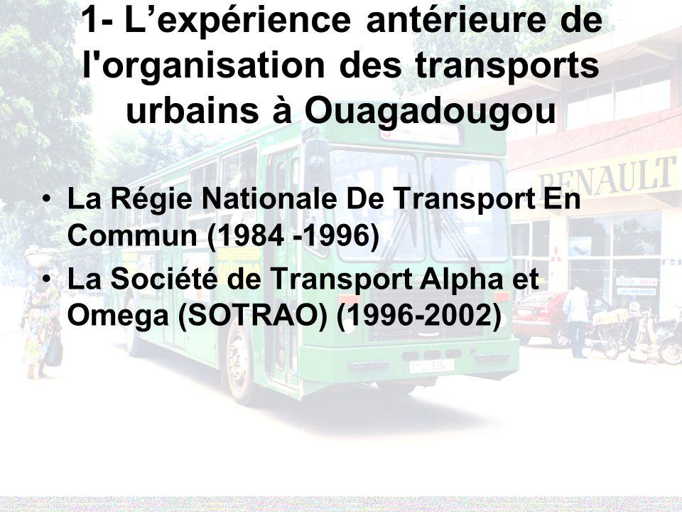 1- Lexpérience antérieure de l'organisation des transports urbains à Ouagadougou La Régie Nationale De Transport En Commun (1984 -1996) La Société de
