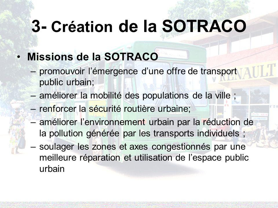 3- Création de la SOTRACO Missions de la SOTRACO –promouvoir lémergence dune offre de transport public urbain; –améliorer la mobilité des populations de la ville ; –renforcer la sécurité routière urbaine; –améliorer lenvironnement urbain par la réduction de la pollution générée par les transports individuels ; –soulager les zones et axes congestionnés par une meilleure réparation et utilisation de lespace public urbain
