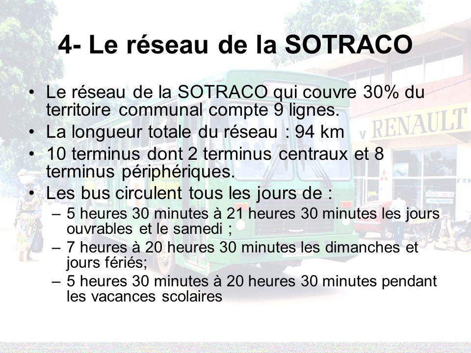4- Le réseau de la SOTRACO Le réseau de la SOTRACO qui couvre 30% du territoire communal compte 9 lignes.