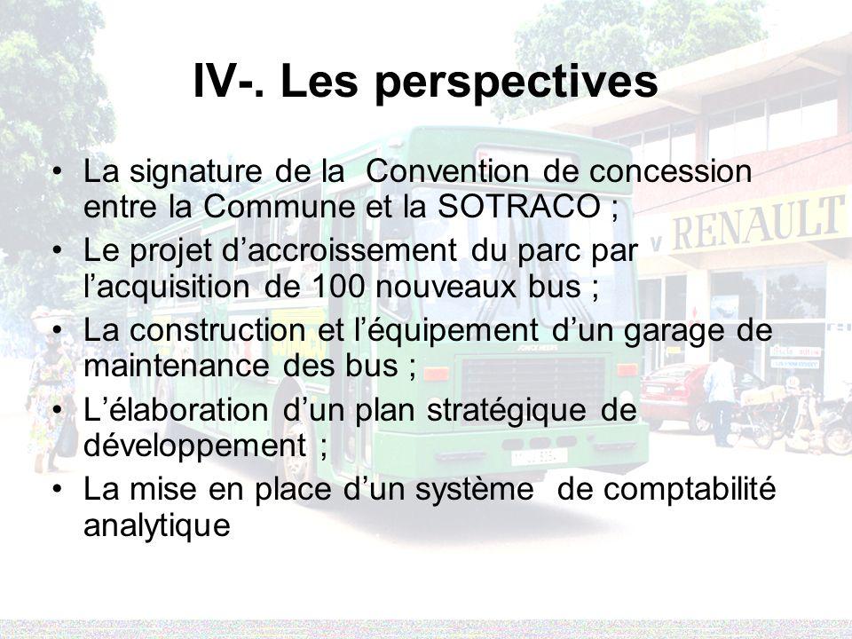 IV-. Les perspectives La signature de la Convention de concession entre la Commune et la SOTRACO ; Le projet daccroissement du parc par lacquisition d