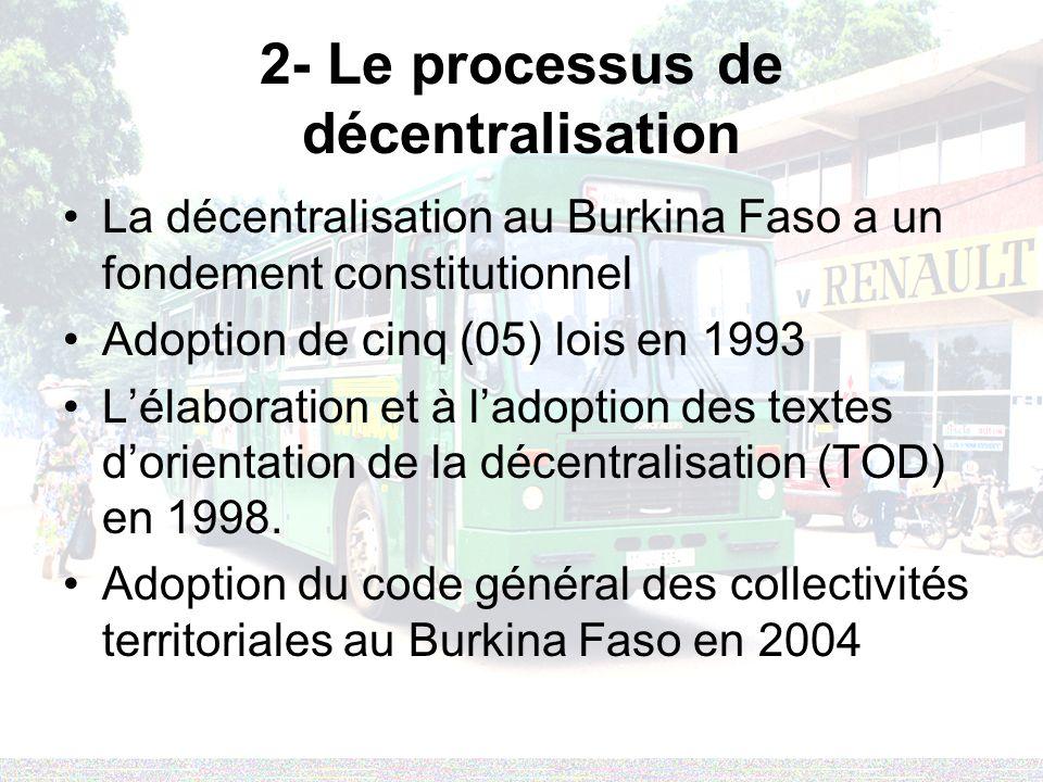 2- Le processus de décentralisation La décentralisation au Burkina Faso a un fondement constitutionnel Adoption de cinq (05) lois en 1993 Lélaboration et à ladoption des textes dorientation de la décentralisation (TOD) en 1998.