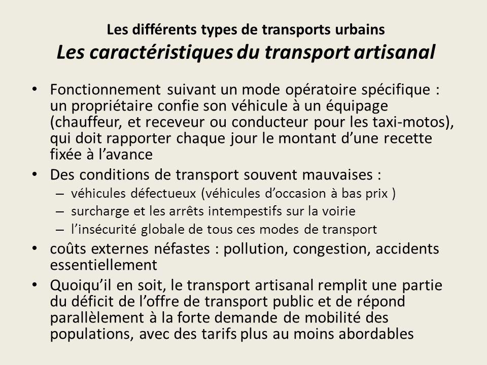 Les différents types de transports urbains Les entreprises dautobus : léchec (1) Dans la majorité des villes dAfrique sub Saharienne, les entreprises dautobus ont connu une crise structurelle qui en a fait disparaître une grande partie : – la Sotuc à Douala et Yaoundé (1995), – la Sogetrag à Conakry, – la Sotrac (Société des Transports en Communs) à Dakar (1998), – la Sotraz à Kinshasa – NBSC à Nairobi en 1997.