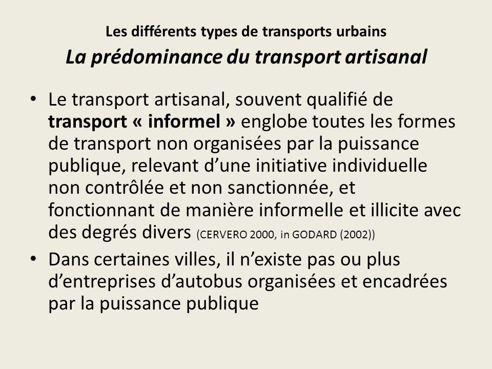 Répartition du transport public dans les grandes villes subsahariennes (Source : Godard Xavier (2005), données fragiles) VilleRépartition du transport public (%) Institutio nnel artisanalInstitutio nnel artisanal Abidjan3268Dar es Salam397 Accra1387Douala298 Addis Abeba2773Nairobi3070 Bamako 1993 1090Niamey1981 Conakry397Ouagadougou2575 Cotonou298Yaoundé 1993-100 Dakar595Lomé-100