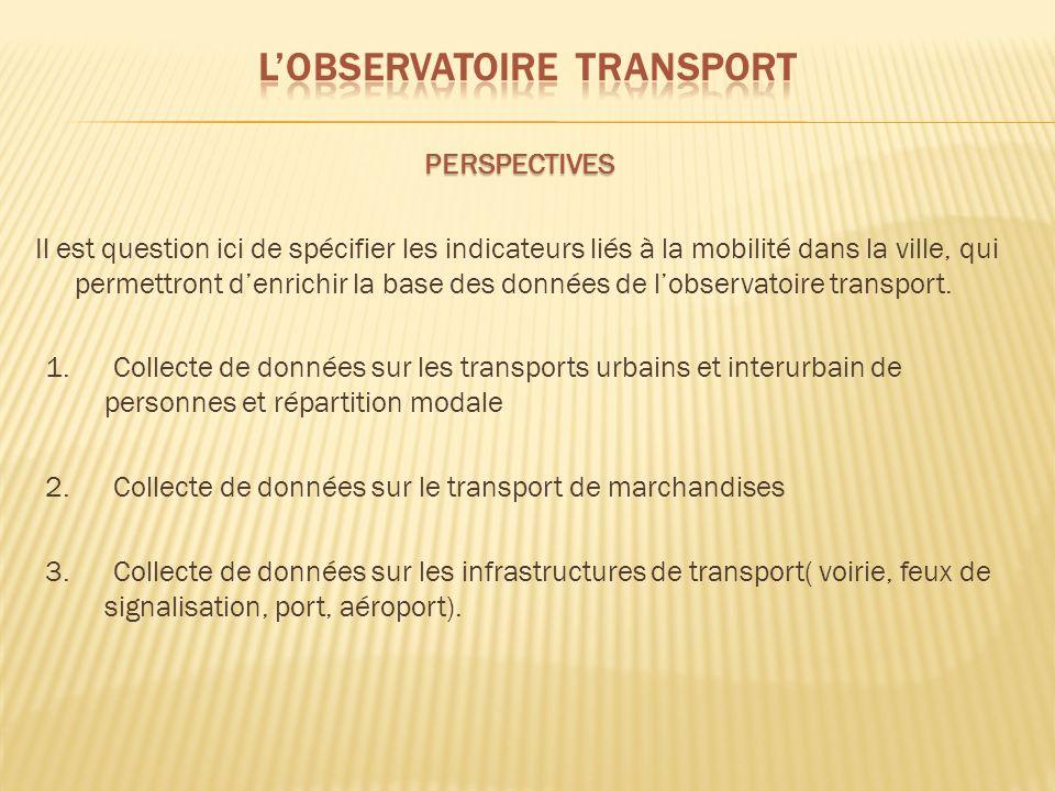 PERSPECTIVES Il est question ici de spécifier les indicateurs liés à la mobilité dans la ville, qui permettront denrichir la base des données de lobservatoire transport.