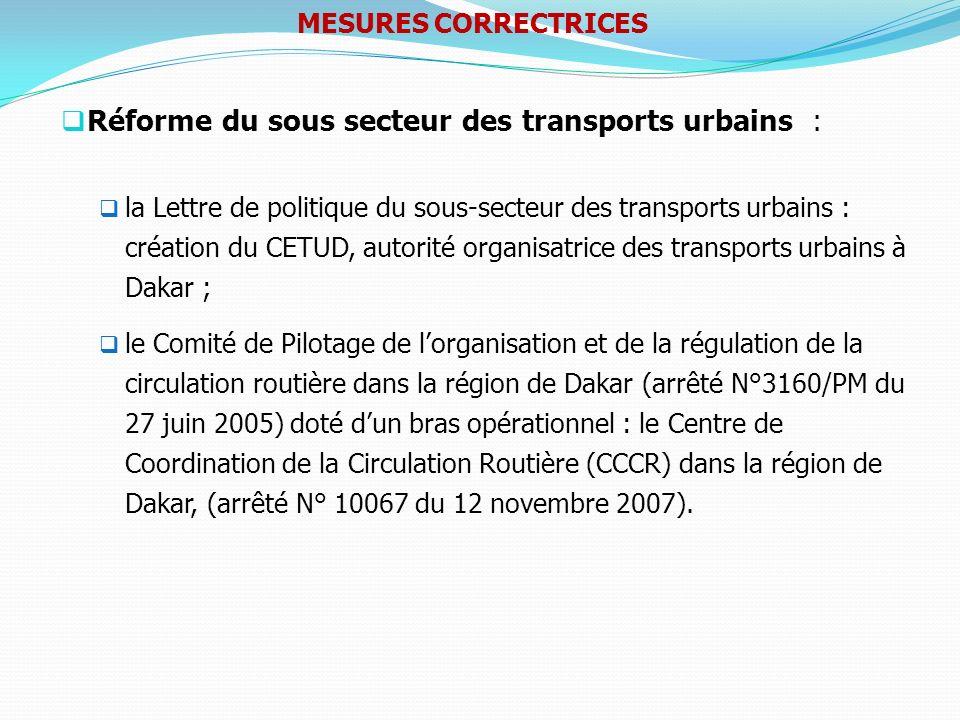 Réforme du sous secteur des transports urbains : la Lettre de politique du sous-secteur des transports urbains : création du CETUD, autorité organisat