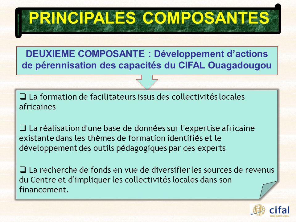 PRINCIPALES COMPOSANTES DEUXIEME COMPOSANTE : Développement dactions de pérennisation des capacités du CIFAL Ouagadougou La formation de facilitateurs
