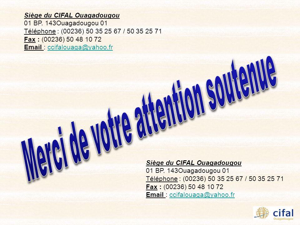 Siège du CIFAL Ouagadougou 01 BP. 143Ouagadougou 01 Téléphone : (00236) 50 35 25 67 / 50 35 25 71 Fax : (00236) 50 48 10 72 Email : ccifalouaga@yahoo.