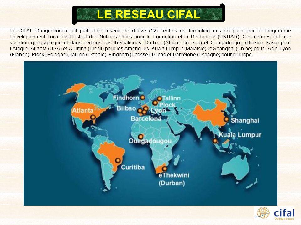 Le CIFAL Ouagadougou fait parti dun réseau de douze (12) centres de formation mis en place par le Programme Développement Local de lInstitut des Natio