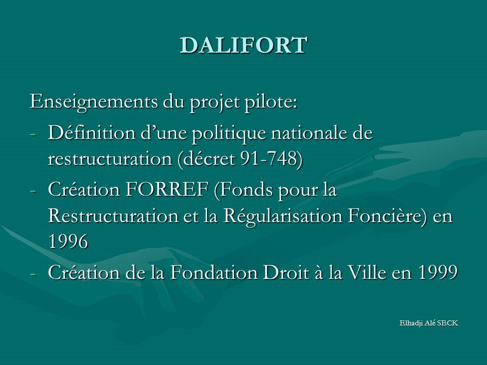 DALIFORT Enseignements du projet pilote: -Définition dune politique nationale de restructuration (décret 91-748) -Création FORREF (Fonds pour la Restructuration et la Régularisation Foncière) en 1996 -Création de la Fondation Droit à la Ville en 1999 Elhadji Alé SECK