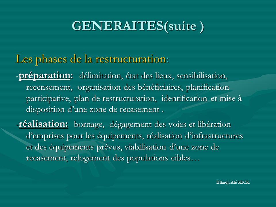 GENERAITES(suite ) Les phases de la restructuration: - préparation: délimitation, état des lieux, sensibilisation, recensement, organisation des bénéf