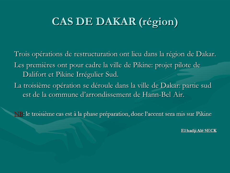 CAS DE DAKAR (région) Trois opérations de restructuration ont lieu dans la région de Dakar. Les premières ont pour cadre la ville de Pikine: projet pi