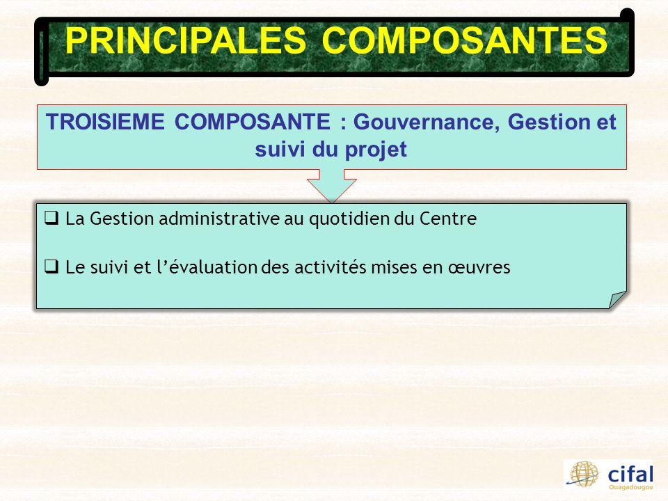 PRINCIPALES COMPOSANTES TROISIEME COMPOSANTE : Gouvernance, Gestion et suivi du projet La Gestion administrative au quotidien du Centre Le suivi et lévaluation des activités mises en œuvres