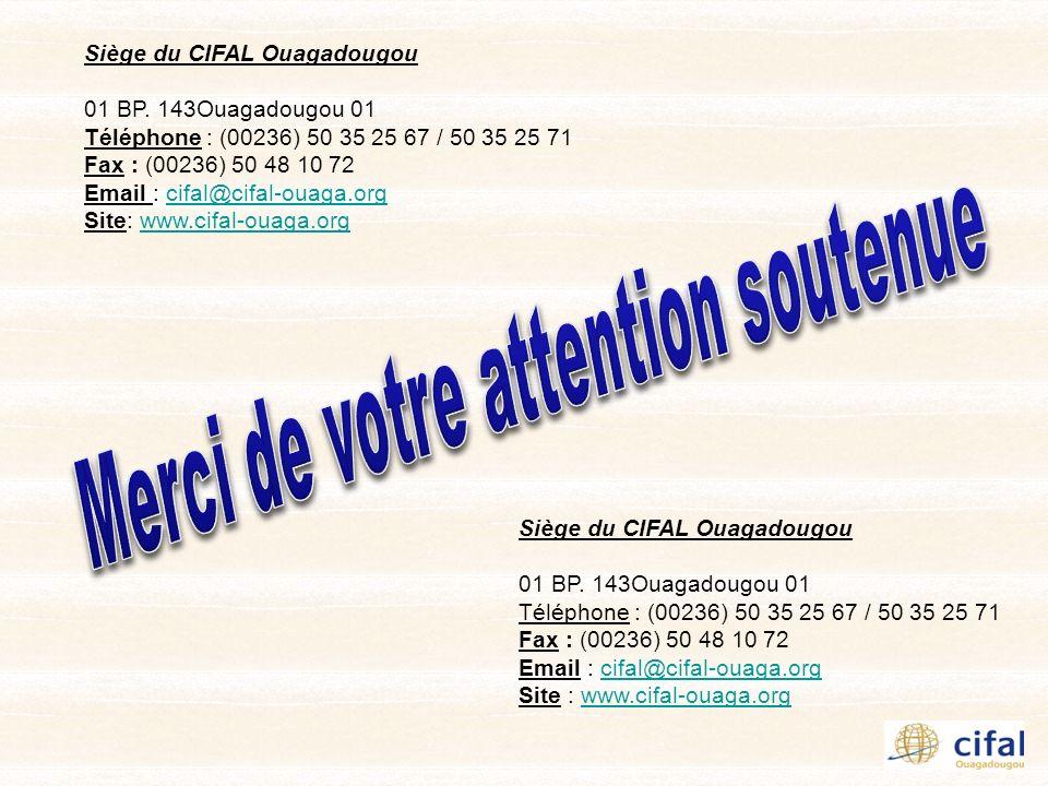 Siège du CIFAL Ouagadougou 01 BP. 143Ouagadougou 01 Téléphone : (00236) 50 35 25 67 / 50 35 25 71 Fax : (00236) 50 48 10 72 Email : cifal@cifal-ouaga.