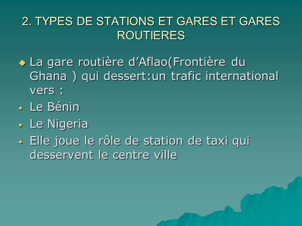 2. TYPES DE STATIONS ET GARES ET GARES ROUTIERES La gare routière dAflao(Frontière du Ghana ) qui dessert:un trafic international vers : La gare routi