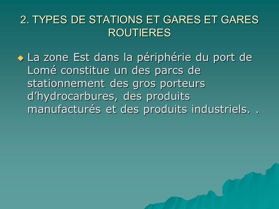 2. TYPES DE STATIONS ET GARES ET GARES ROUTIERES La zone Est dans la périphérie du port de Lomé constitue un des parcs de stationnement des gros porte
