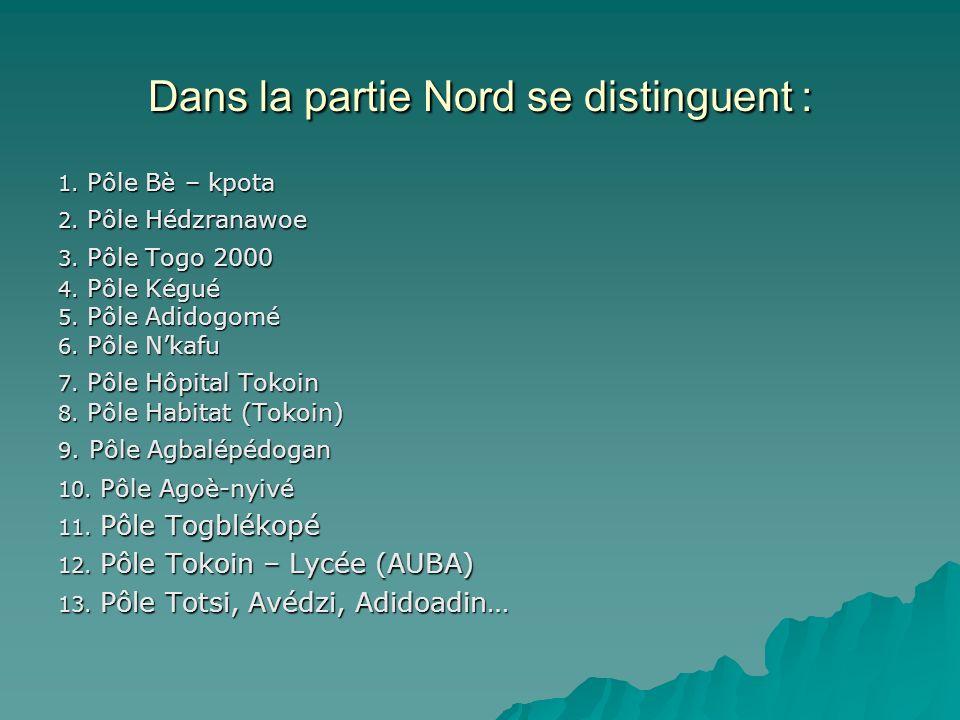 Dans la partie Nord se distinguent : 1. Pôle Bè – kpota 2. Pôle Hédzranawoe 3. Pôle Togo 2000 4. Pôle Kégué 5. Pôle Adidogomé 6. Pôle Nkafu 7. Pôle Hô