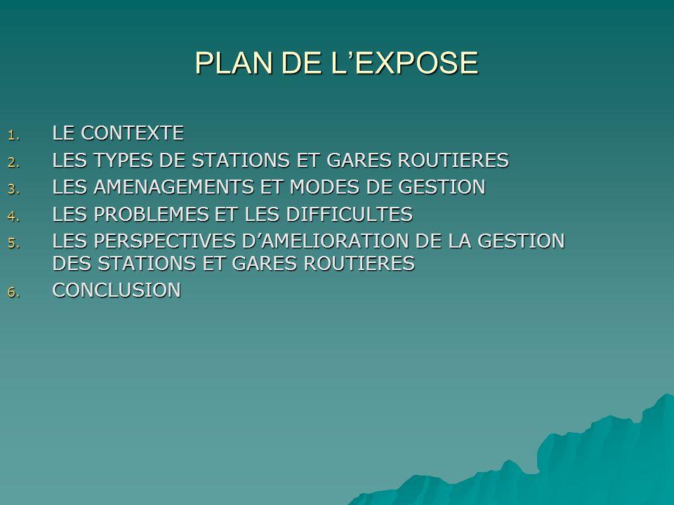 PLAN DE LEXPOSE 1. LE CONTEXTE 2. LES TYPES DE STATIONS ET GARES ROUTIERES 3. LES AMENAGEMENTS ET MODES DE GESTION 4. LES PROBLEMES ET LES DIFFICULTES