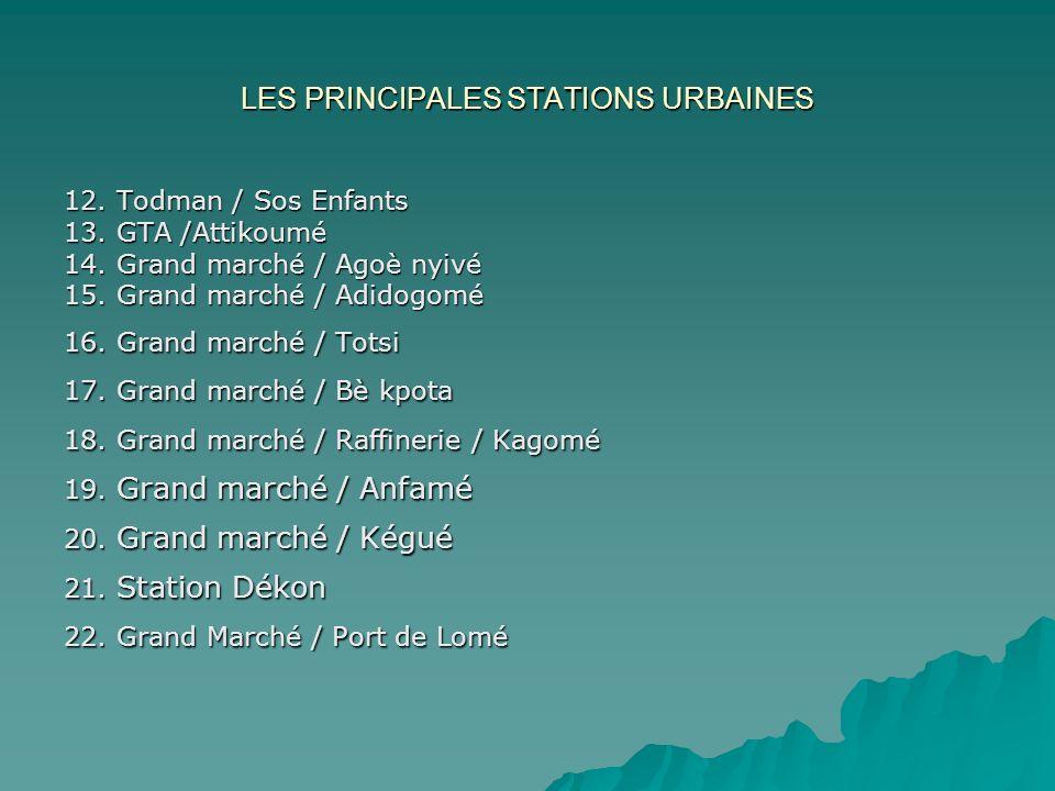 LES PRINCIPALES STATIONS URBAINES 12. Todman / Sos Enfants 13. GTA /Attikoumé 14. Grand marché / Agoè nyivé 15. Grand marché / Adidogomé 16. Grand mar