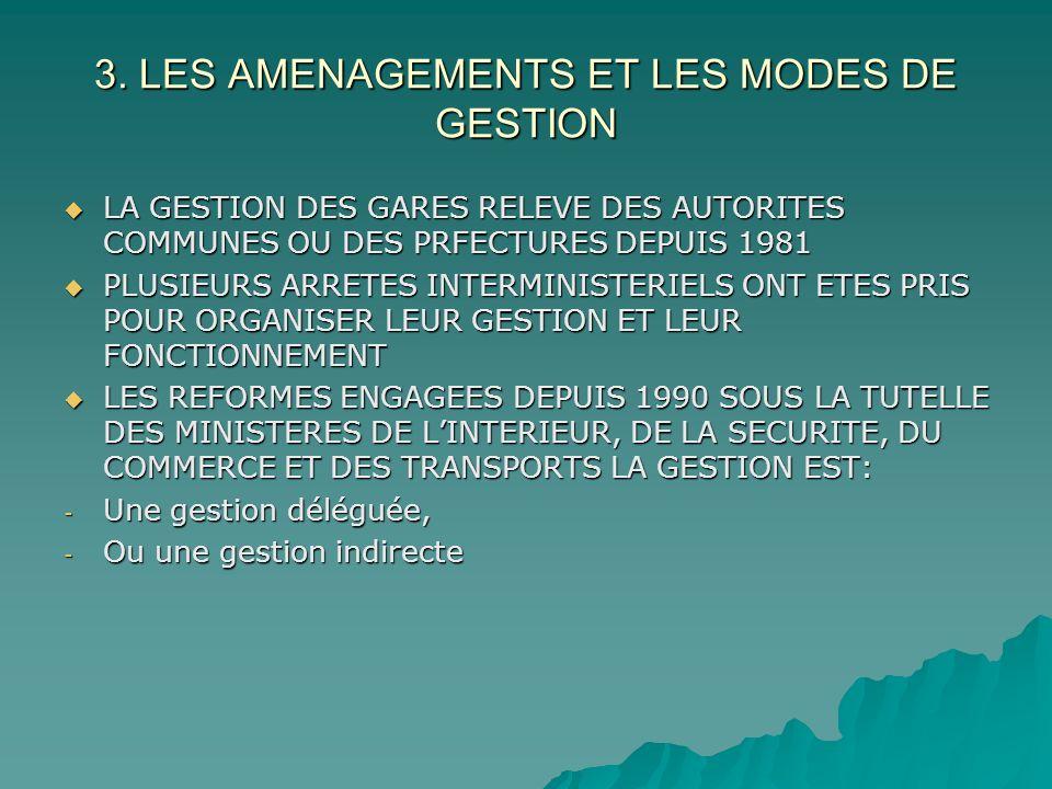 3. LES AMENAGEMENTS ET LES MODES DE GESTION LA GESTION DES GARES RELEVE DES AUTORITES COMMUNES OU DES PRFECTURES DEPUIS 1981 LA GESTION DES GARES RELE