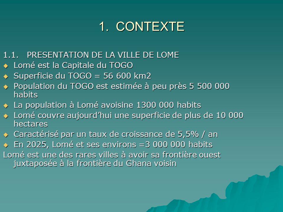 1. CONTEXTE 1.1. PRESENTATION DE LA VILLE DE LOME Lomé est la Capitale du TOGO Lomé est la Capitale du TOGO Superficie du TOGO = 56 600 km2 Superficie