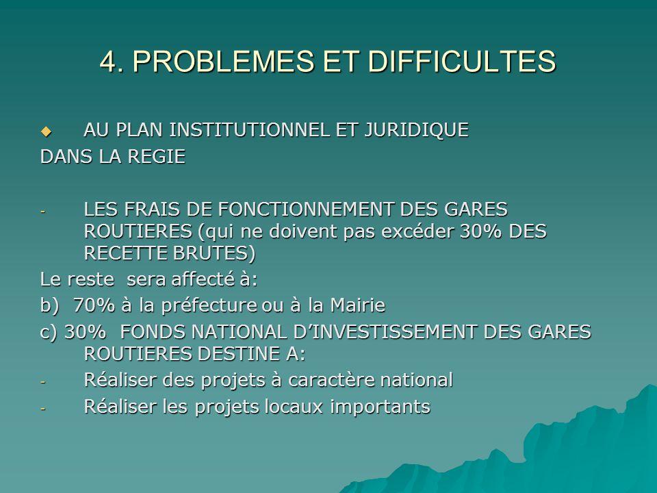 4. PROBLEMES ET DIFFICULTES AU PLAN INSTITUTIONNEL ET JURIDIQUE AU PLAN INSTITUTIONNEL ET JURIDIQUE DANS LA REGIE - LES FRAIS DE FONCTIONNEMENT DES GA