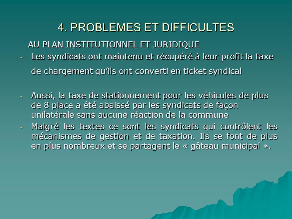 4. PROBLEMES ET DIFFICULTES AU PLAN INSTITUTIONNEL ET JURIDIQUE AU PLAN INSTITUTIONNEL ET JURIDIQUE - Les syndicats ont maintenu et récupéré à leur pr