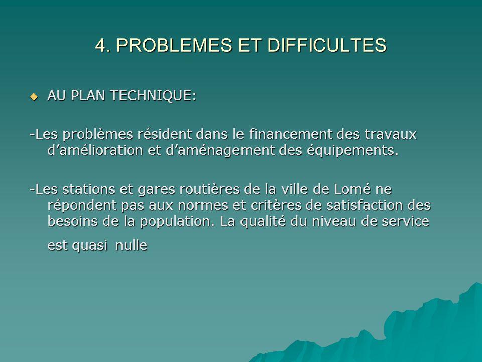 4. PROBLEMES ET DIFFICULTES AU PLAN TECHNIQUE: AU PLAN TECHNIQUE: -Les problèmes résident dans le financement des travaux damélioration et daménagemen