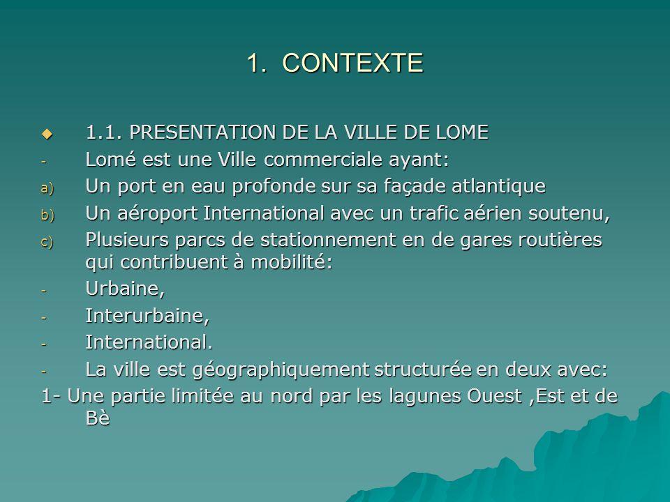 1. CONTEXTE 1.1. PRESENTATION DE LA VILLE DE LOME 1.1. PRESENTATION DE LA VILLE DE LOME - Lomé est une Ville commerciale ayant: a) Un port en eau prof