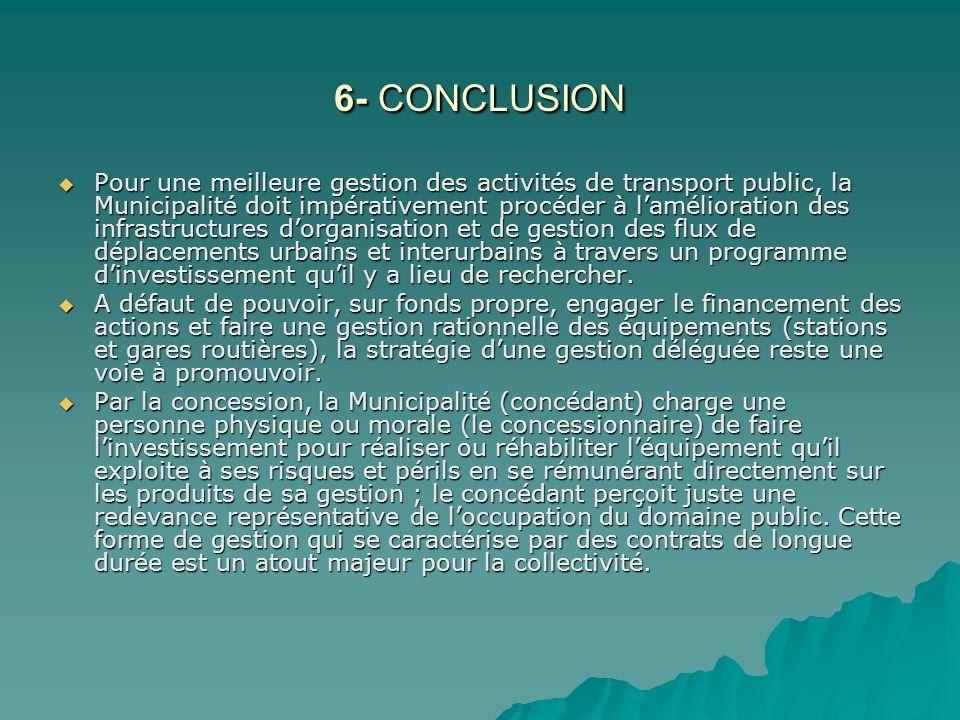 6- CONCLUSION Pour une meilleure gestion des activités de transport public, la Municipalité doit impérativement procéder à lamélioration des infrastru