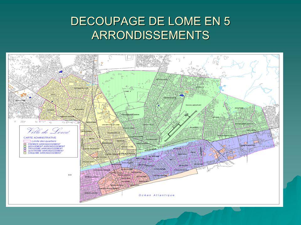 DECOUPAGE DE LOME EN 5 ARRONDISSEMENTS