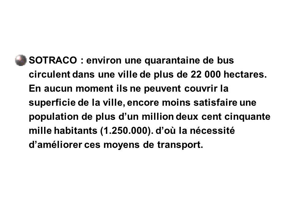 SOTRACO : environ une quarantaine de bus circulent dans une ville de plus de 22 000 hectares. En aucun moment ils ne peuvent couvrir la superficie de