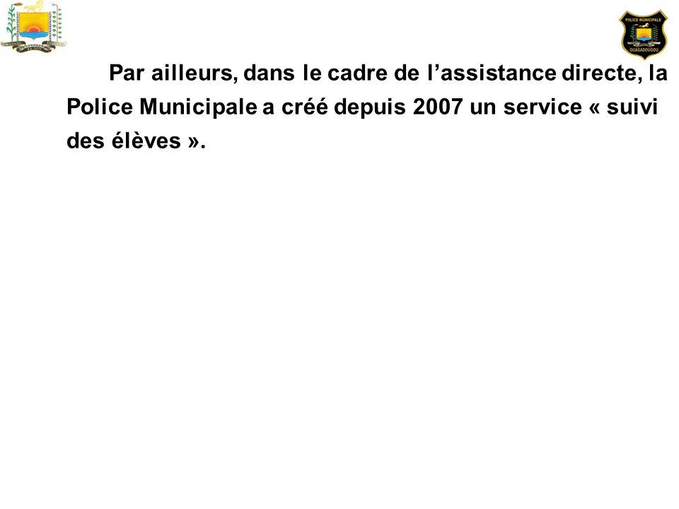 Par ailleurs, dans le cadre de lassistance directe, la Police Municipale a créé depuis 2007 un service « suivi des élèves ».