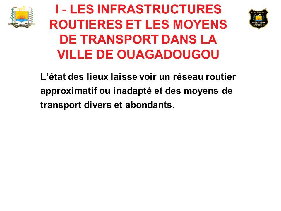 De manière grossière, la ville de Ouagadougou compte plus de 6000 rues avec seulement : - 165 kms de routes bitumées ; - 23 kms de voies cyclables dont 7 kms non utilisables ; - 121 carrefours sont équipés de feux tricolores dont 114 fonctionnels.