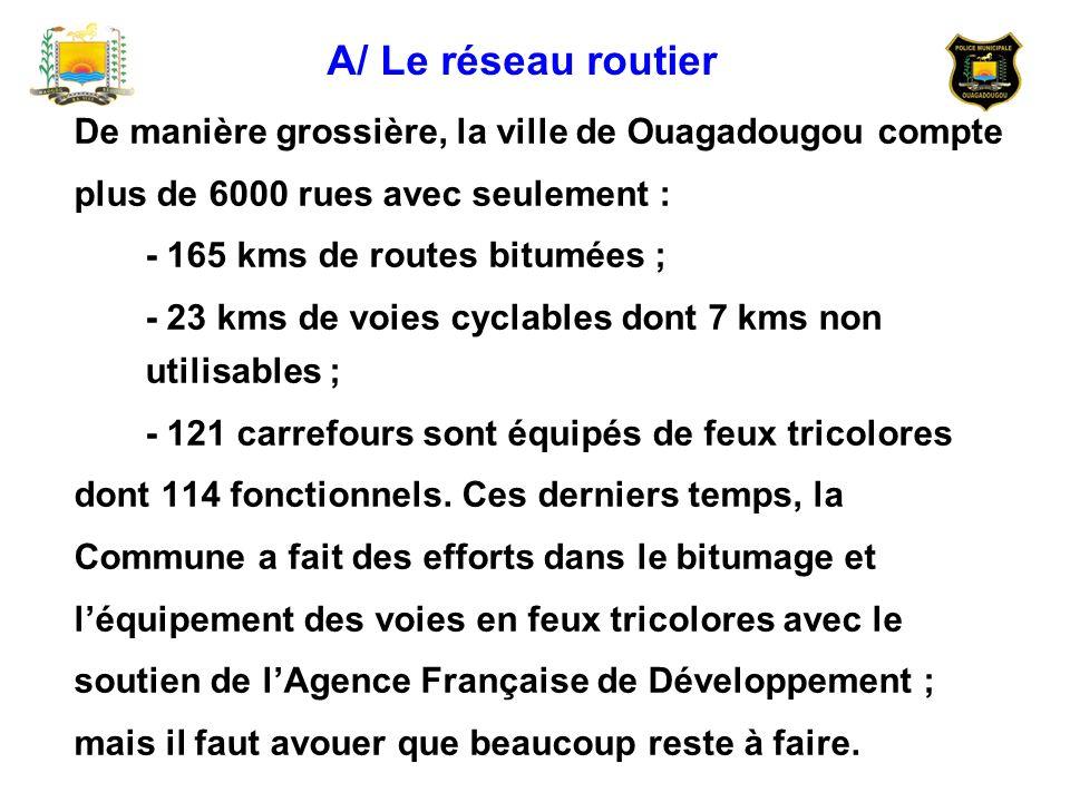 De manière grossière, la ville de Ouagadougou compte plus de 6000 rues avec seulement : - 165 kms de routes bitumées ; - 23 kms de voies cyclables don