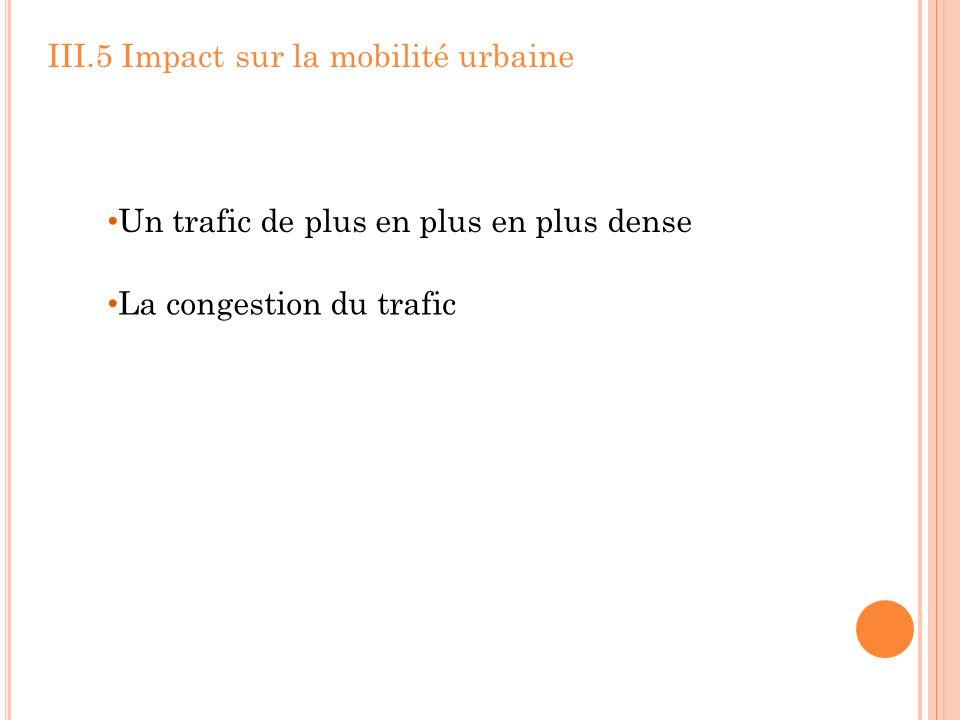 III.5 Impact sur la mobilité urbaine Un trafic de plus en plus en plus dense La congestion du trafic