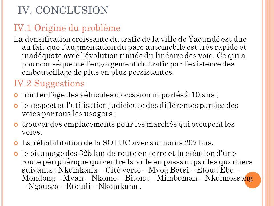 IV. CONCLUSION IV.1 Origine du problème La densification croissante du trafic de la ville de Yaoundé est due au fait que laugmentation du parc automob