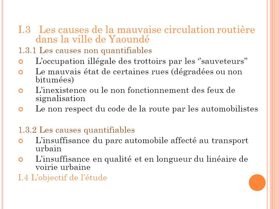 I.3 Les causes de la mauvaise circulation routière dans la ville de Yaoundé 1.3.1 Les causes non quantifiables Loccupation illégale des trottoirs par