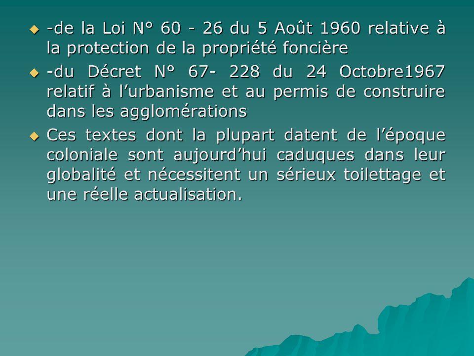 -de la Loi N° 60 - 26 du 5 Août 1960 relative à la protection de la propriété foncière -de la Loi N° 60 - 26 du 5 Août 1960 relative à la protection d