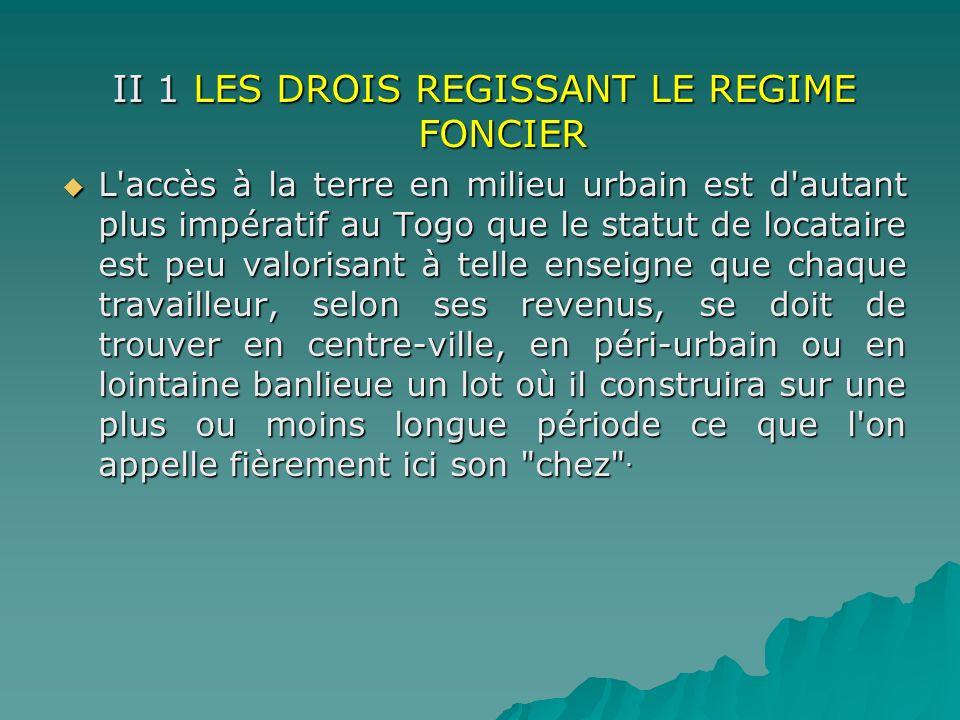 II 1 LES DROIS REGISSANT LE REGIME FONCIER L'accès à la terre en milieu urbain est d'autant plus impératif au Togo que le statut de locataire est peu