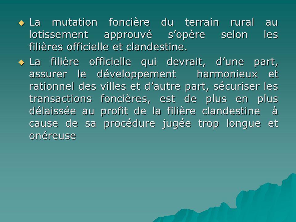 La mutation foncière du terrain rural au lotissement approuvé sopère selon les filières officielle et clandestine. La mutation foncière du terrain rur