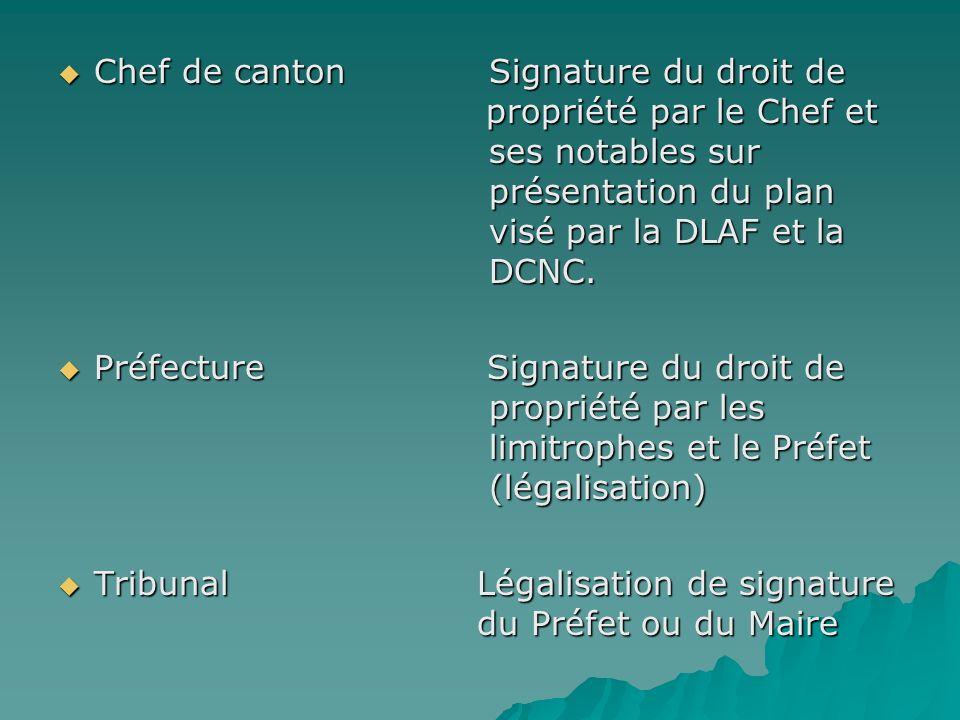 Chef de canton Signature du droit de propriété par le Chef et ses notables sur présentation du plan visé par la DLAF et la DCNC. Chef de canton Signat
