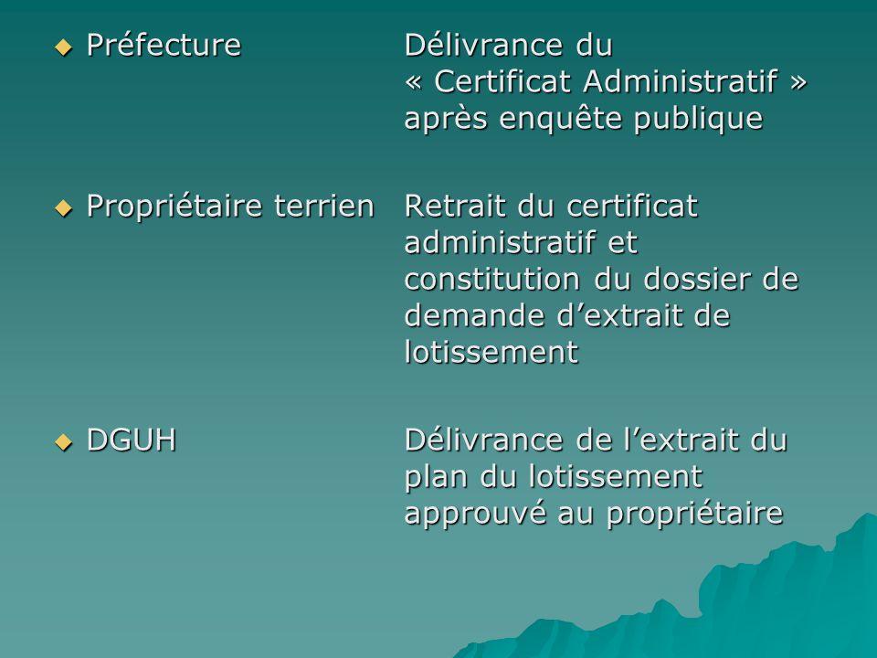 PréfectureDélivrance du « Certificat Administratif » après enquête publique PréfectureDélivrance du « Certificat Administratif » après enquête publiqu